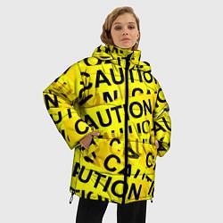 Женская зимняя 3D-куртка с капюшоном с принтом Caution, цвет: 3D-черный, артикул: 10086347006071 — фото 2