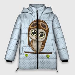 Женская зимняя 3D-куртка с капюшоном с принтом Сова пилот, цвет: 3D-черный, артикул: 10086920906071 — фото 1