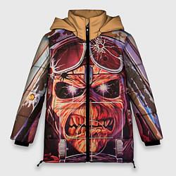 Женская зимняя 3D-куртка с капюшоном с принтом Iron Maiden: Dead Rider, цвет: 3D-черный, артикул: 10089879806071 — фото 1