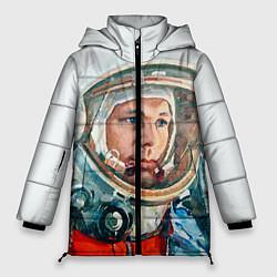 Женская зимняя 3D-куртка с капюшоном с принтом Гагарин в полете, цвет: 3D-черный, артикул: 10092034406071 — фото 1