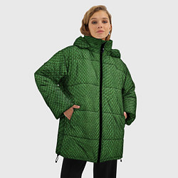 Куртка зимняя женская Змеиная зеленая кожа - фото 2