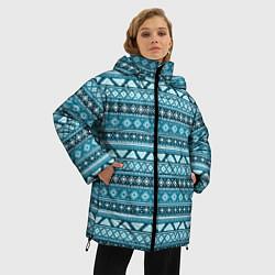 Куртка зимняя женская Винтажный орнамент цвета 3D-черный — фото 2