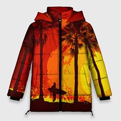 Женская зимняя 3D-куртка с капюшоном с принтом Summer Surf, цвет: 3D-черный, артикул: 10096432706071 — фото 1