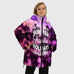 Женская зимняя 3D-куртка с капюшоном с принтом Hawaii dream 2, цвет: 3D-черный, артикул: 10096438106071 — фото 2