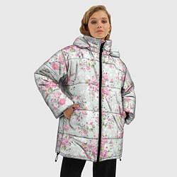 Женская зимняя 3D-куртка с капюшоном с принтом Flower pattern, цвет: 3D-черный, артикул: 10096487306071 — фото 2