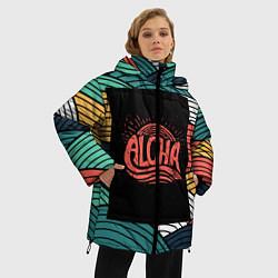 Женская зимняя 3D-куртка с капюшоном с принтом Алоха, цвет: 3D-черный, артикул: 10098336506071 — фото 2
