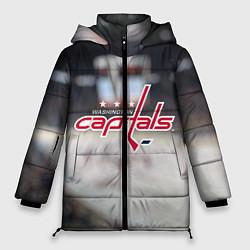 Женская зимняя 3D-куртка с капюшоном с принтом Washington Capitals, цвет: 3D-черный, артикул: 10099897106071 — фото 1