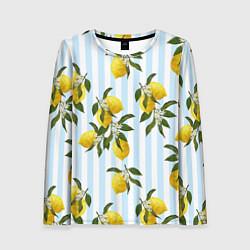 Лонгслив женский Лимоны цвета 3D — фото 1