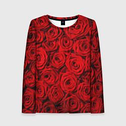 Лонгслив женский Красные розы цвета 3D-принт — фото 1