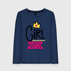 Лонгслив хлопковый женский Girl Boss цвета тёмно-синий — фото 1