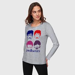 Лонгслив хлопковый женский The Beatles faces цвета меланж — фото 2