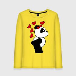 Лонгслив хлопковый женский Поцелуй панды: для нее цвета желтый — фото 1