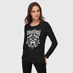 Лонгслив хлопковый женский Miss May I: Angry Lion цвета черный — фото 2