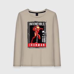 Лонгслив хлопковый женский Invincible Iron Man цвета миндальный — фото 1