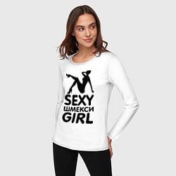 Лонгслив хлопковый женский Секси шмекси girl цвета белый — фото 2