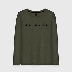 Лонгслив хлопковый женский Logo Friends цвета меланж-хаки — фото 1