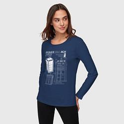 Лонгслив хлопковый женский Доктор Кто, ТАРДИС цвета тёмно-синий — фото 2