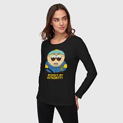 Лонгслив хлопковый женский South Park, Эрик Картман цвета черный — фото 2