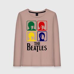Лонгслив хлопковый женский The Beatles: Colors цвета пыльно-розовый — фото 1