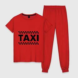 Пижама хлопковая женская Taxi цвета красный — фото 1