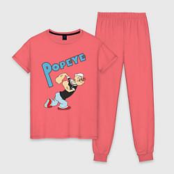 Пижама хлопковая женская Popeye цвета коралловый — фото 1