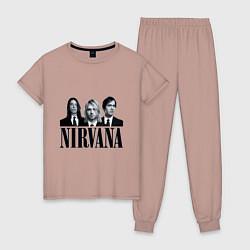 Пижама хлопковая женская Nirvana Group цвета пыльно-розовый — фото 1