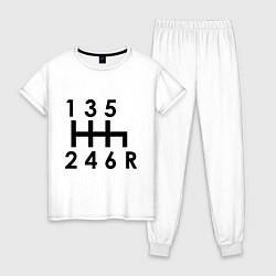 Пижама хлопковая женская Коробка передач цвета белый — фото 1