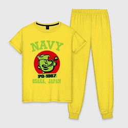 Пижама хлопковая женская Navy: Po-1967 цвета желтый — фото 1