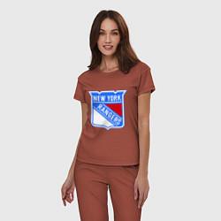 Пижама хлопковая женская New York Rangers цвета кирпичный — фото 2