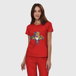 Пижама хлопковая женская Florida Panthers цвета красный — фото 2