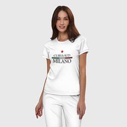 Пижама хлопковая женская Curva Sud: Milano FC цвета белый — фото 2