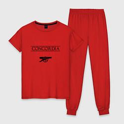 Пижама хлопковая женская Arsenal: Concordia Crescit цвета красный — фото 1