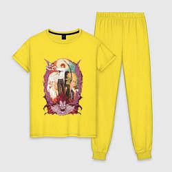 Пижама хлопковая женская Death Note Team цвета желтый — фото 1
