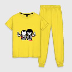Пижама хлопковая женская Криминальное Чтиво цвета желтый — фото 1