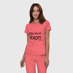 Пижама хлопковая женская You are an idiot! цвета коралловый — фото 2