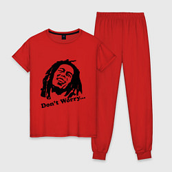 Пижама хлопковая женская Bob Marley: Don't worry цвета красный — фото 1