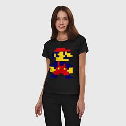 Пижама хлопковая женская Pixel Mario цвета черный — фото 2