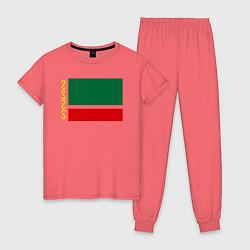 Пижама хлопковая женская Чечня: флаг цвета коралловый — фото 1