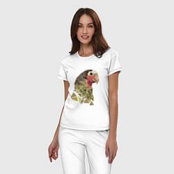 Пижама хлопковая женская Полигональный попугай цвета белый — фото 2