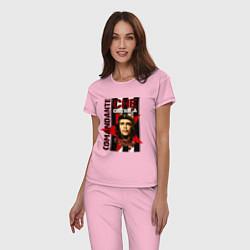 Пижама хлопковая женская Comandante цвета светло-розовый — фото 2