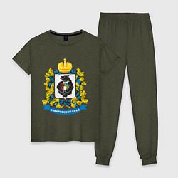 Пижама хлопковая женская Хабаровский край цвета меланж-хаки — фото 1