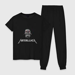 Пижама хлопковая женская Metallica scool цвета черный — фото 1