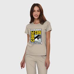 Пижама хлопковая женская Comic con San Diego цвета миндальный — фото 2