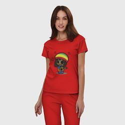 Пижама хлопковая женская Маленький Боб Марли цвета красный — фото 2