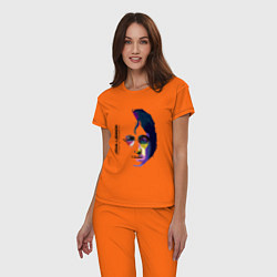 Пижама хлопковая женская John Lennon: Techno цвета оранжевый — фото 2