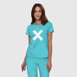 Пижама хлопковая женская The XX: White X цвета бирюзовый — фото 2