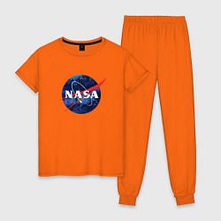 Пижама хлопковая женская NASA: Cosmic Logo цвета оранжевый — фото 1