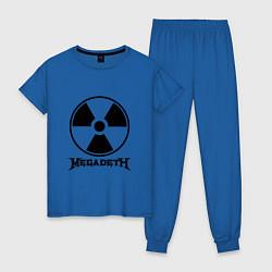 Пижама хлопковая женская Megadeth: Radioactive цвета синий — фото 1