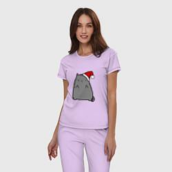 Пижама хлопковая женская New Year Kitty FCK цвета лаванда — фото 2
