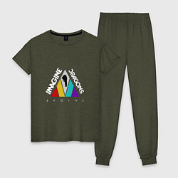 Пижама хлопковая женская Imagine Dragons: Evolve цвета меланж-хаки — фото 1